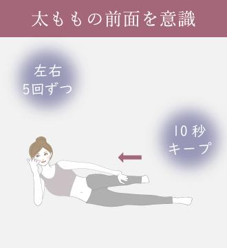 右手で頭を支え左ひざを曲げ左手で足首をつかみ、かかとをお尻にくっつけて10秒キープする