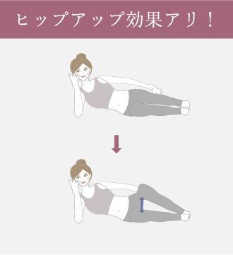 右手で頭を支え膝を直角に曲げて、かかとをつけたまま左ひざを肩の高さまで上げ下げする