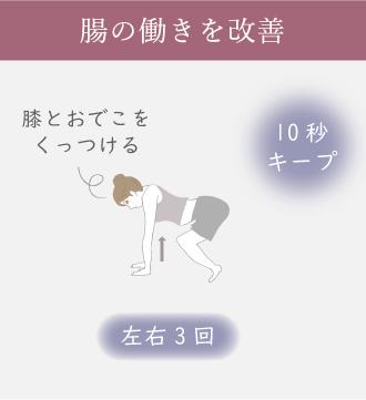 四つん這いになり、右足の太ももをおなかに引き寄せて10秒キープする