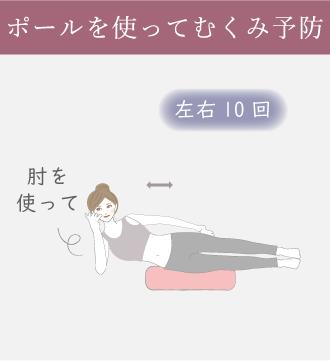 右ひじをついて横向きになり、ストレッチポールを太ももの下に入れ体を上下に動かす