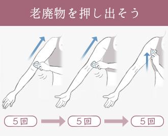二の腕の表面、肘から脇を5回かっさでさすったあと脇の下を押す