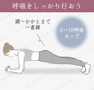 板のポーズは両足を伸ばして腕立て伏せのポーズの状態でキープ